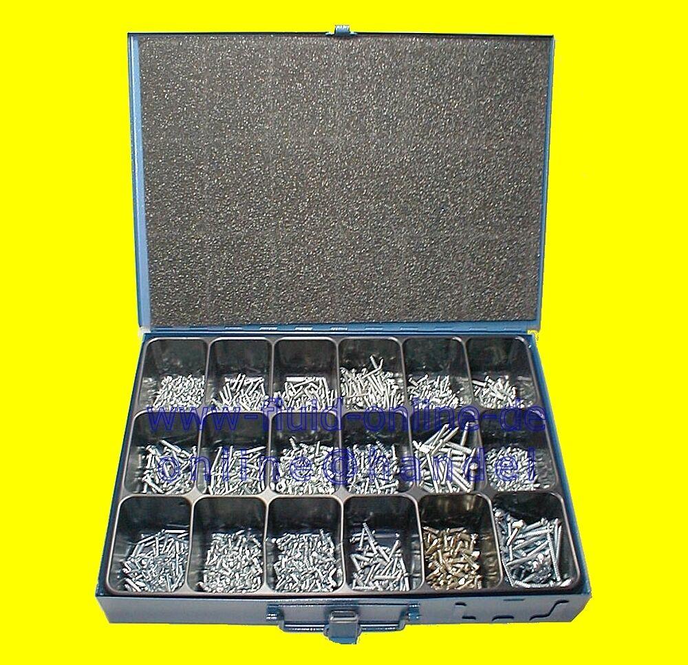 Sortiment Blechschrauben Schrauben 1650 teilig im Stahlkoffer 10053 - NEU