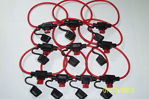 10 PCS MINI ATM INLINE FUSEHOLDERS,WITH 16 GUAGE WIRE,10 AMP FUSE FAST SHIPPING