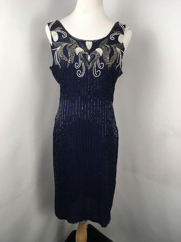 Vintage 80s bluee Silk Sequin Heavily Beaded Flapper Dress L Gatsby Evening