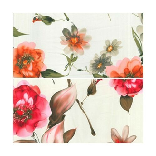 Floral Dainty Daisies And Peonies 100/% Polyester Korean Silky Satin Fabric