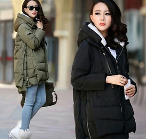 Winter-pregnant-Womens-Loose-Warm-Down-cotton-Padded-zipper-Jacket-Hooded-coat