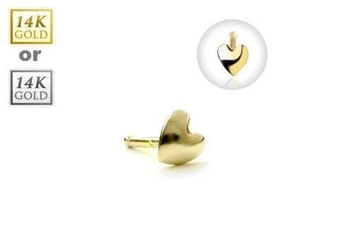 14K Solid GOLD Heart Shape NOSE Bone Studs Screw RINGS Body Piercing Jewelry