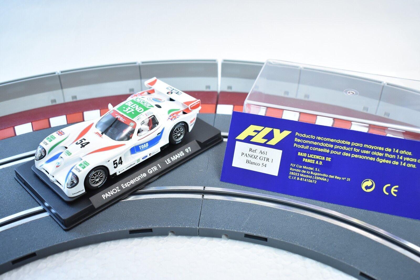 A61 FLY CAR MODEL 1 32 SLOT CAR PANOZ GTE 1 whiteO 54 LE MANS 1997