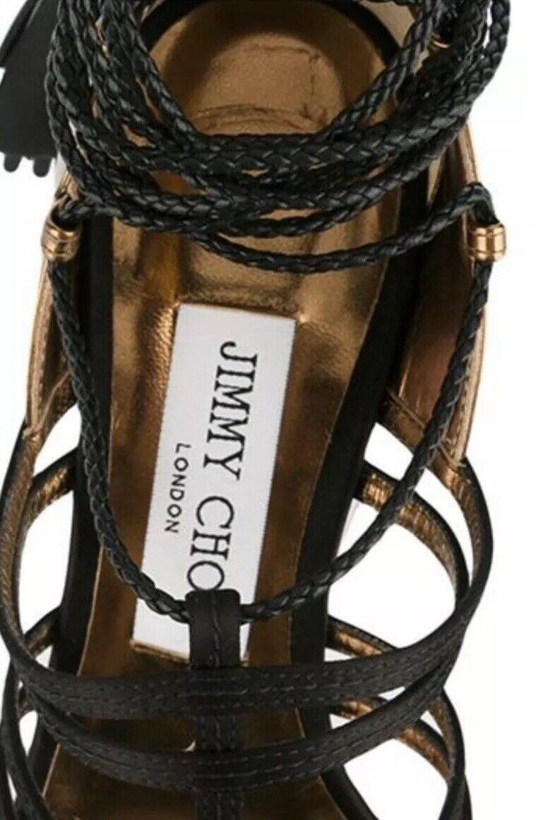 Jimmy Choo Black & Metallic Metallic Metallic Diamond Leather Tassel Gladiator sandals shoes UK 7 cbb81a