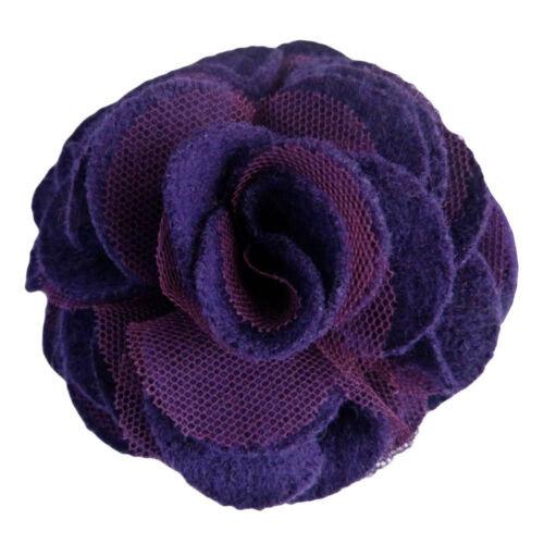 Pince à cheveux bibi  broche fleur feutrine violet foncé tulle soirée  mariage
