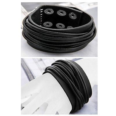 "Black Men Leather Bracelet Bangle Wristband Cuff 1.58"" HOT"