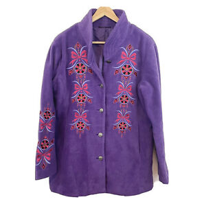 Bob Mackie Embroidered Fleece Jacket Quilted Collar Purple Button Front M Medium