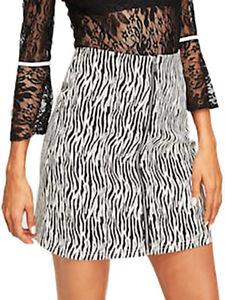 promo code 246a4 63e1c Dettagli su Gonna casual in tela denim zebrata bianca e nera con cerniera  avanti
