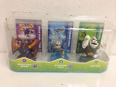 Skylanders Swap Force Pack of 3 Blizzard Chill Zoo Lou Mega Ram Spyro & Cards