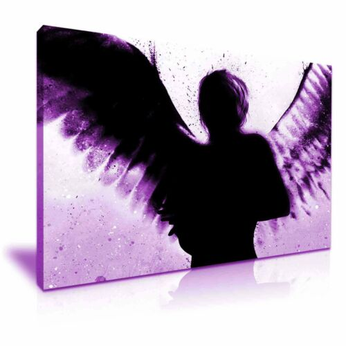 BANKSY Dark Angel Graffiti Art Canvas Box Violet Purple