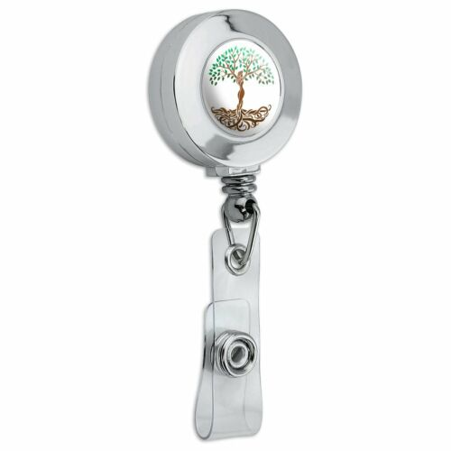 Tree of Life Mother Nature Retractable Reel Chrome Badge ID Card Holder Clip