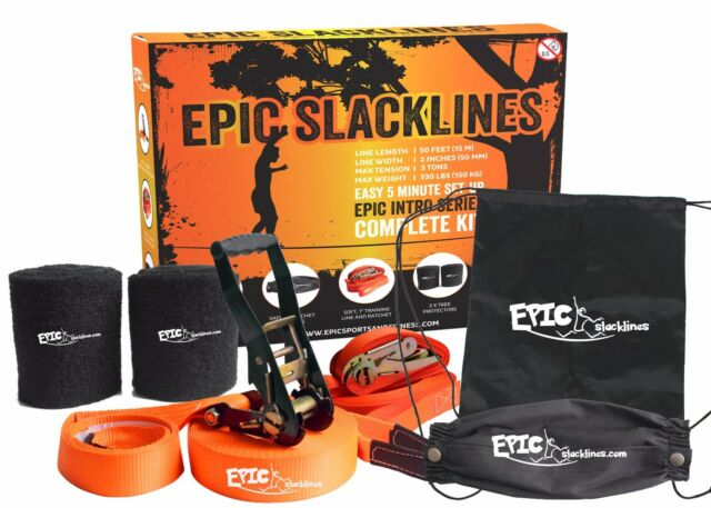 "Epic Slackline Kit 2"" x 50' Long W/ Training Line, Ratchet & Tree Protectors Bag"