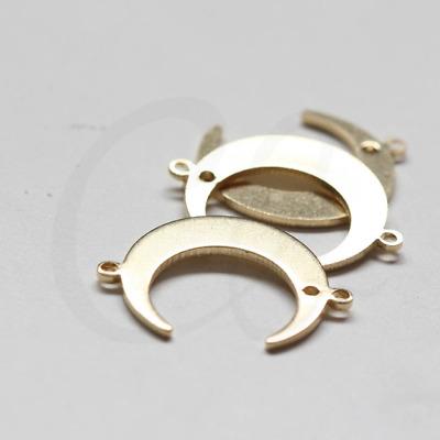 10 Pieces Raw Brass Moon Charm - Crescent 22x16mm (3790C-D-464)