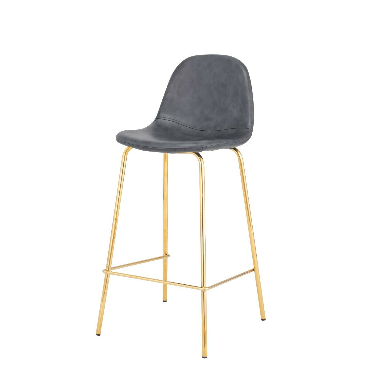 Terrific Smart Counter Stool In Distressed Grey Faux Leather 26 Seat Height Gold Frame Machost Co Dining Chair Design Ideas Machostcouk