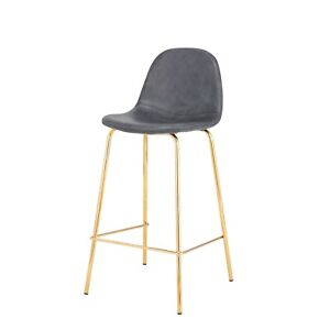 Awe Inspiring Details About Smart Counter Stool In Distressed Grey Faux Leather 26 Seat Height Gold Frame Pdpeps Interior Chair Design Pdpepsorg