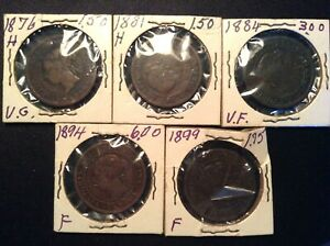 1876-H-1881-H-1884-1894-1899-Canada-Large-One-Cent-Coin-Lot-Queen-Victoria