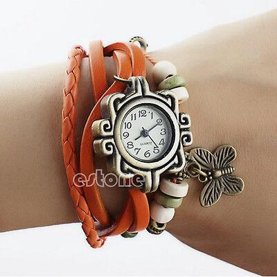 Women Vintage New Leather Bracelet Butterfly Decoration Quartz Wrist Watch