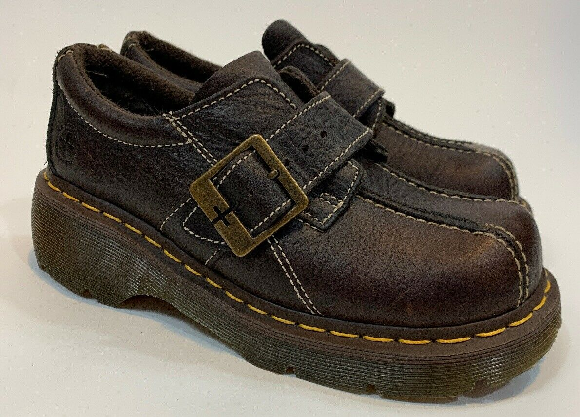Dr.Martens 12282 Women's Size 7 Brown Leather Monkstrap Bicycle Toe