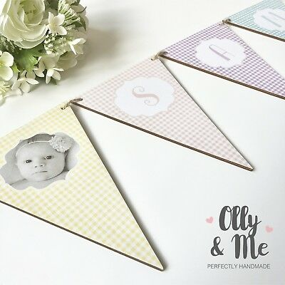 Personalised Photo New Baby//Child Name Nursery//Room Wooden Bunting//Garland Gift