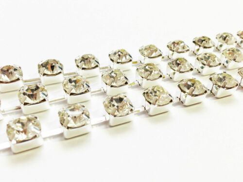 1 Metre Diamante Clear Crystals Rhinestone Silver Rope Trim Chain 3mm 4.5mm