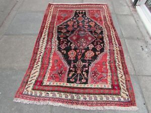 Vintage-Worn-Traditional-Hand-Made-Rug-Oriental-Blue-Red-Wool-Rug-186x119cm