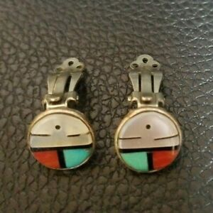 VTG-CLIP-ON-EARINGS-Zuni-native-American-sterling-silver-turquoise-coral