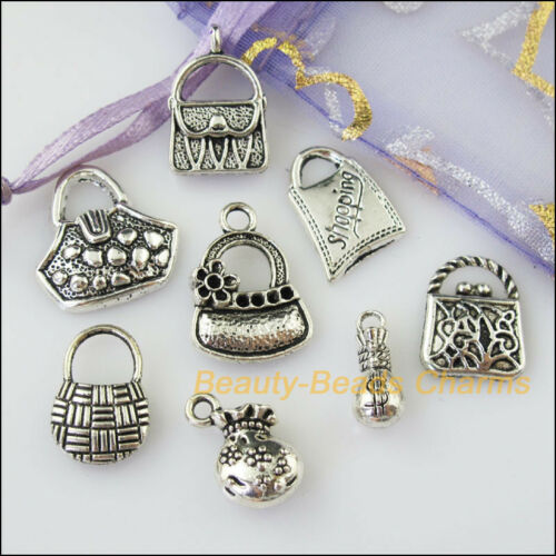 8Pcs Antiqued Silver Tone DIY// Money Bag Mixed Charms Pendants