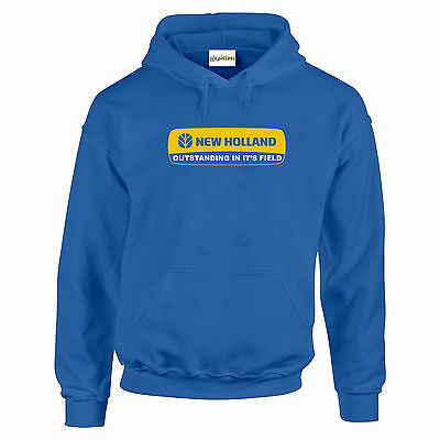 New Holland Hoodie Tractor Combine Farm Heavyweight Sweat Childs All Sizes