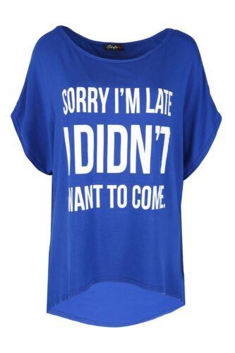 Women Ladies Lagenlook Batwing New York 98 Scoop Neck Oversize Baggy T Shirt Top