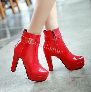 Sexy-Ladies-Patent-Leather-High-Heel-Ankle-Boots-Buckle-Zip-Platform-Riding-Boot