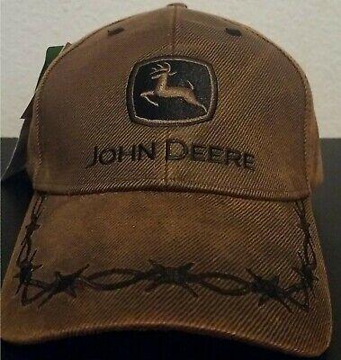 Brown John Deere Men/'s Oilskin Barbwire Adjustable Cap New with Tags