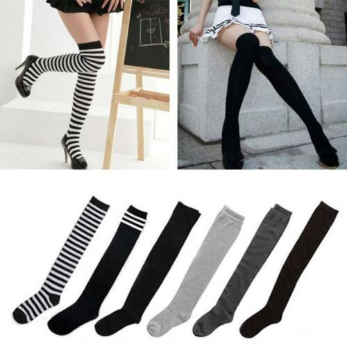Women Girls Stripe Stripy Over The Knee Thigh High Stocking Knit Thick Long Sock