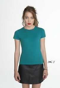 LADIES-T-SHIRT-Sol-039-s-Short-Sleeve-Tee-Womens-Miss-Lady-Fit-TEE-24-Colours