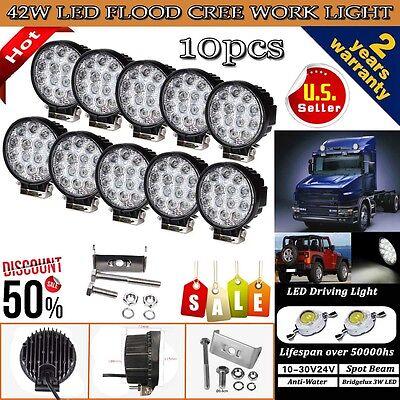 10PCS 42W CREE Waterproof LED Work Light Flood Lamp Car Offroad UTE ATV 12V 24V