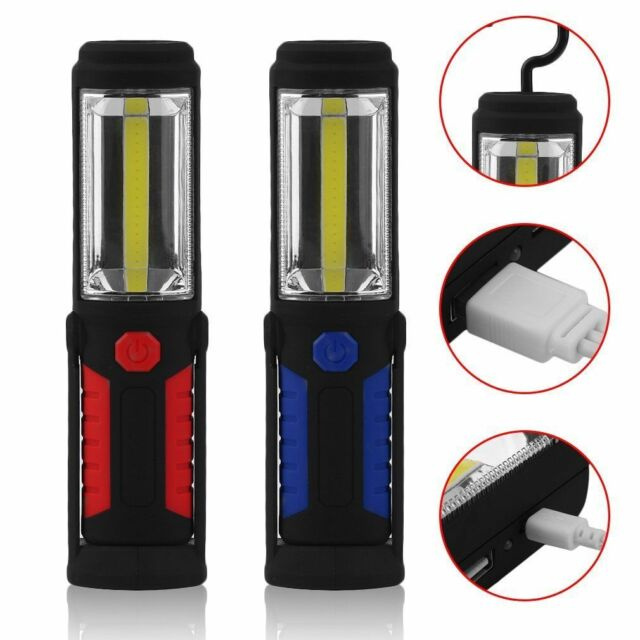 Magnetic LED Torch Pack Of 2 Super Bright COB Flashlight Torch USB Rechargeable