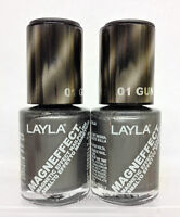 Layla- Magneffect Magnetic Effect 3d Nailpolish 01 Gun Metal - From Italy