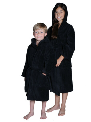 embroidery available Hooded Velour Terry Kids Bathrobe Robes for Girls and Boys