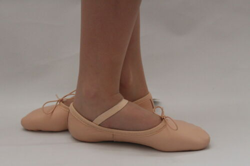 NEW Ballet Dance Shoes Childrens Adults Pink Black Red White Leather Full Sole
