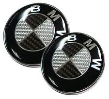 2pcs BMW SCHWARZ CARBON Emblem Vorne Hinten Motorhaube 82mm+74mm Carbon e61 e90