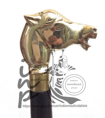 Designer Antique Brass Horse Head Vintage Maritime Style Walking Stick Cane