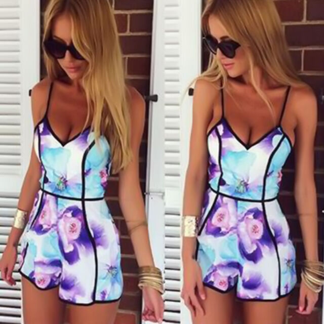 Sexy Summer Playsuit Party Evening  Lady  V Neck Dress Jumpsuit Short dress