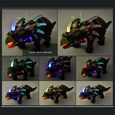 Walking Triceratops Dinosaur Figure With Light Up Toys Figure Sound Real Move US