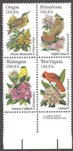 Scott # 1989,90,99,00 - US USPS Block Of 4 - State Birds & Flowers - MNH - 1982