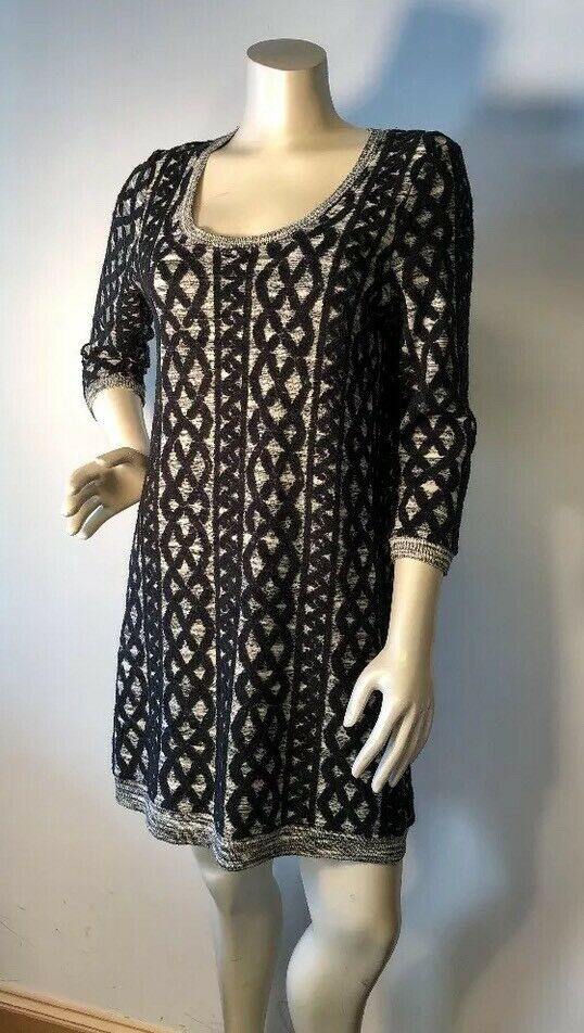ANTHROPOLOGIE Sz MP  MOTH Stitched Textured Tunic Sweater Dress 128.00 Bin-Q