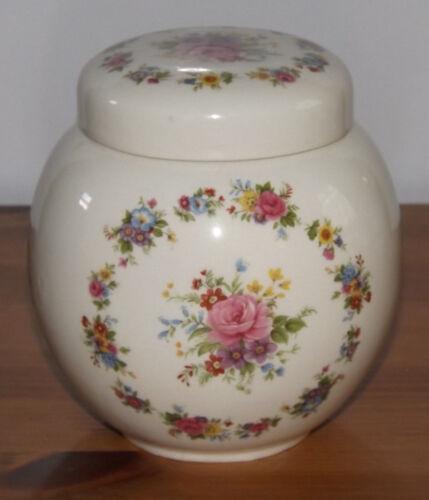 Lovely Vintage Sadler England Cream Lidded Ginger Jar Floralpink