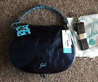 Gabs Medium Flap Navy Blue Varnished Leather Crossbody Handbag Made In Italy