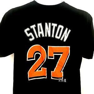newest 32c2c 078d4 Details about Giancarlo Stanton Jersey T Shirt Miami Marlins MLB Black  Majestic Mens Medium