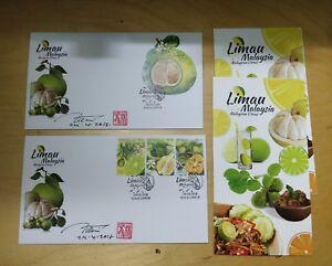 Malaysia-2018-Limau-Citrus-MS-Stamp-designer-autograph-signature-FDC-pair-set