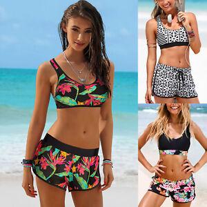27323fff5d2b Detalles de Mujer Push Up con Relleno Bañador Juegos de Bikini Deporte  Pantalones Cortos