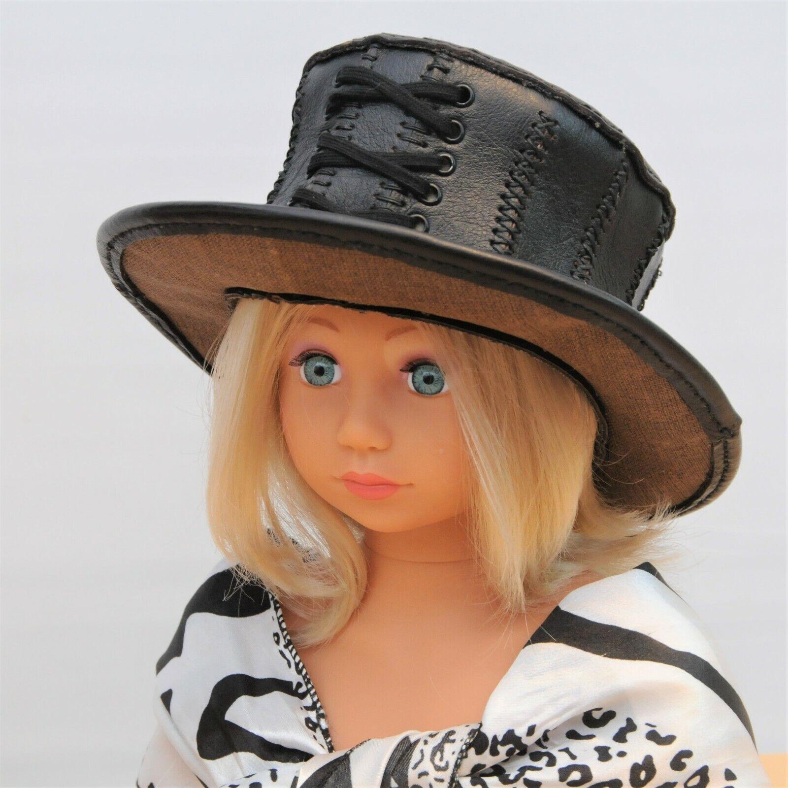 Hecho a Mano Marrón Cuero Sombrero/Mini tamaño, el (15 pulgadas) Steampunk (recién Nacido)
